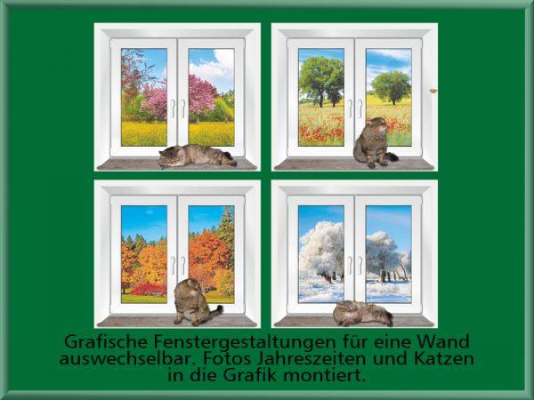 Bild: Grafische Fenstergestaltungen auswechselbar