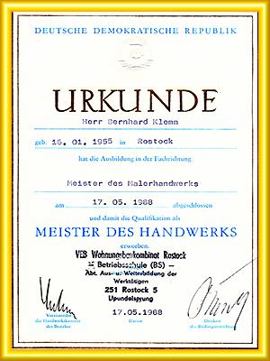 Meisterbrief Bernhard Klemm